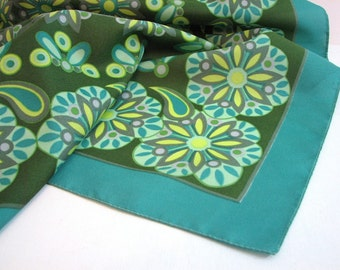 Mod Flower Scarf, Retro Stylized ... 26 Inch Square, Italian ... Shades of Green and Teal, Gray and Yellow Accents
