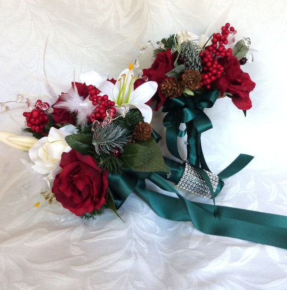 Reserved for Kelly Winter wedding bouquet and boutonniere holiday bridal bouquet