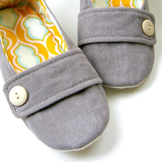 Women's Slippers - Grey Corduroy, Tangerine Yellow and Aqua 'Moli-Maude' House Slippers // Size 5.5