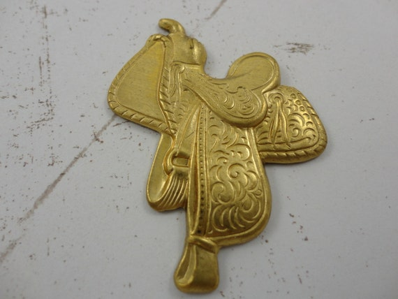 NOS Vintage (1) One Raw Brass Western Horse Saddle Stamping Finding - New Old Stock - Rare Find FREE Shipping USA