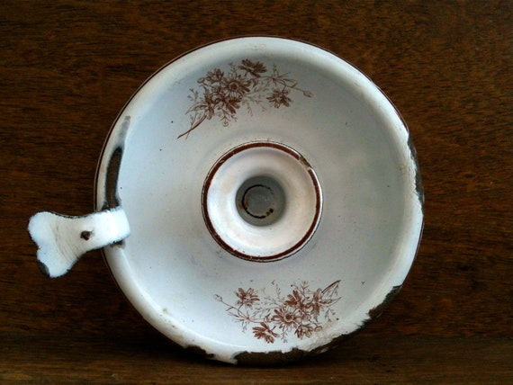 Vintage English Brown and White Enamel Candle Holder, with Cute Loop Handle / English Shop