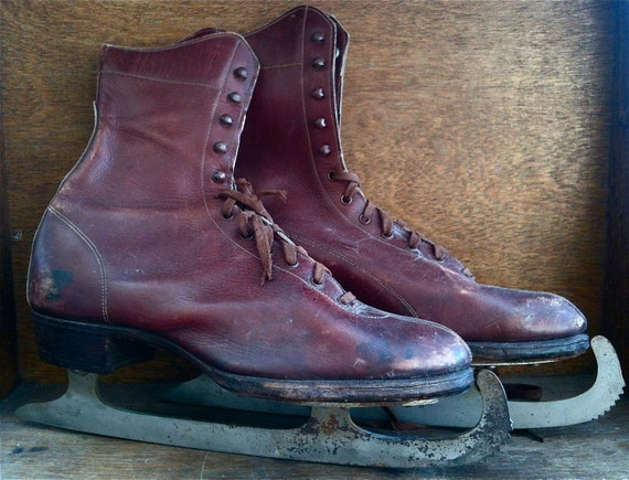 Vintage German ice skating skates shoe boot burgundy leather with protectors size 6 circa 1910-30's / English Shop