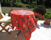 Red floral tablecloth - Red small square Tablecloth floral tile print Ottoman Picnic Park Beach Camp cloth Turkish traditional Hand woven