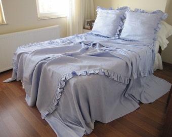 Bed linen - 110 inch super KING linen duvet cover - QUEEN duvet cover ruffled bedding, lavender shabby chic bedding euro sham Nurdanceyiz