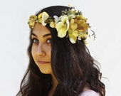 Floral Head Wreath - Woodland Princess Soft, Moonlight Yellow and Olive Green Magnolia Flower Crown. Woodland Wedding