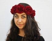Garnet Red Rose Crown - Flower Crown, Day of the Dead Headpiece, Costume, Rose Floral Crown, Frida Kahlo, Oxblood, Rose Headband, Red Rose