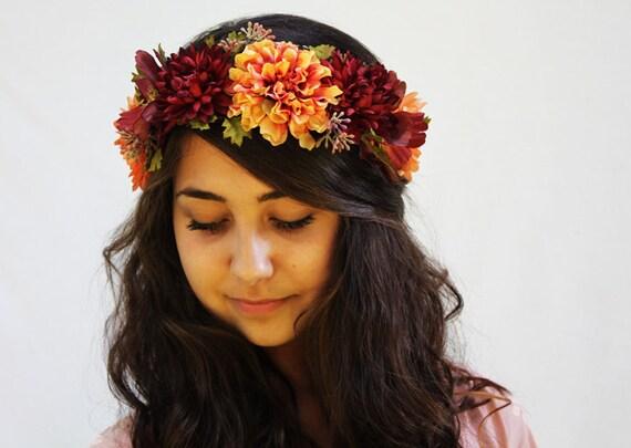 Fall Floral Crown - Saffron and Burgundy - Buddhist Monk Robes, Late Summer, Flower Crown. Autumn Weddings, Festivals, Mustard.