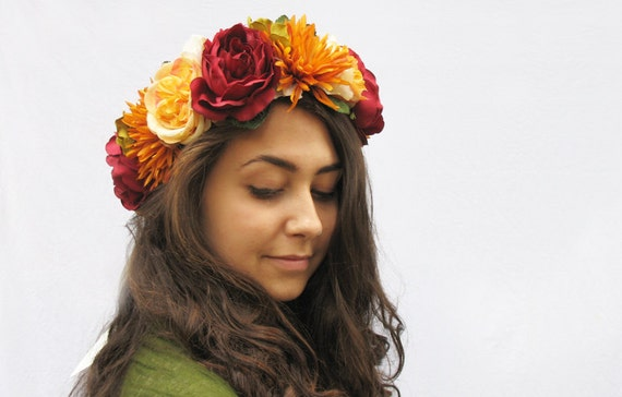 Autumn Flower Crown Red Orange Yellow Floral Crown Red