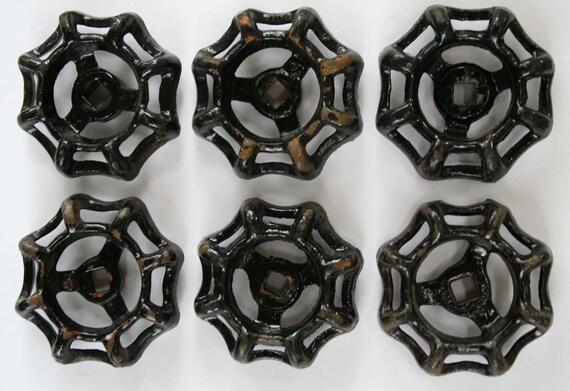 Set of 6 Black  Steel Vintage Water Faucet Handles