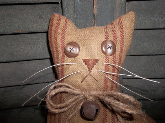 "Large Primitive Hand Made ""Barn"" Cat - Vintage Reproduction Coverlet"
