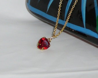 Dainty Siam red Swarovski heart pendant and Gold-filled chain - I love you - Free shipping to Canada & USA