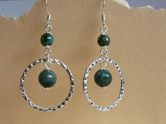 Green Fancy Jasper gemstone dangle earrings - Silver plated or surgical earrings hooks - free shipping to Canada and USA