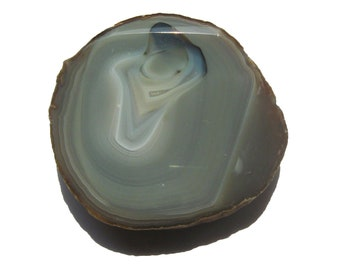 Sliced Grey Agate and Creamy Quartz Geode