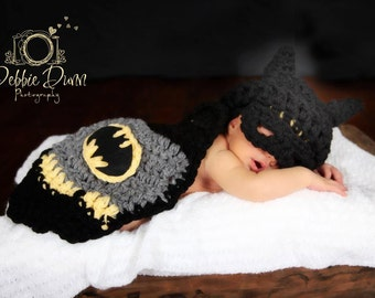 Crochet Newborn Batman Cape photo prop, newborn prop,baby prop, up to 6 months, super hero cape