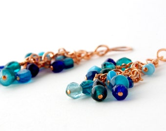 Copper with Blue Glass Bohemian Belly Dance Earrings, Tribal Fusion Earrings, Where the Sky, the Ocean and the Sand meet
