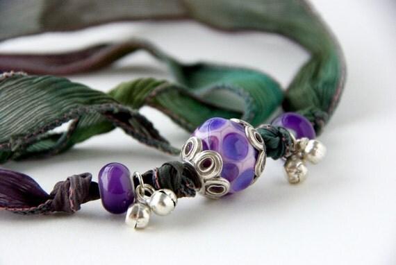 Hand Dyed Silk Ribbon Bracelet, Silk Wrap Yoga Bracelet, Polka-Dot Glass Lampwork Charm Bracelet, Shabby Chic Gypsy Silk Ribbon Necklace
