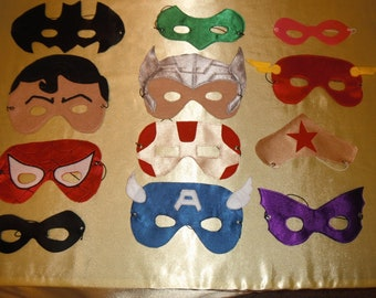 Hero Mask (1) Satin & Felt - Choose your Character