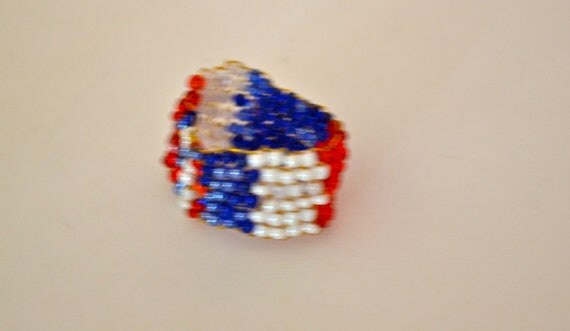 Red, White & Blue Peyote Stitch RING, Made in the USA