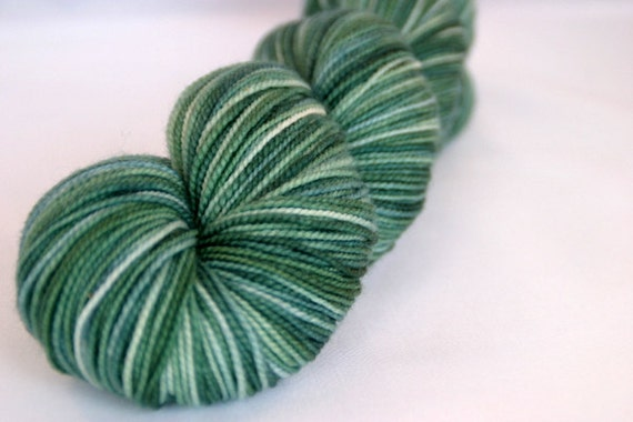 Hand Dyed Yarn - Wool Nylon Blend - All Spruced Up - Green Blue Brown