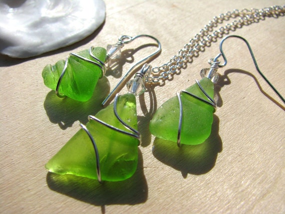RESERVED for C: 4 Sets Sea Glass Jewelry Lime Green Sea Glass Necklace Beach Glass Earrings Green Wedding Jewelry Bride