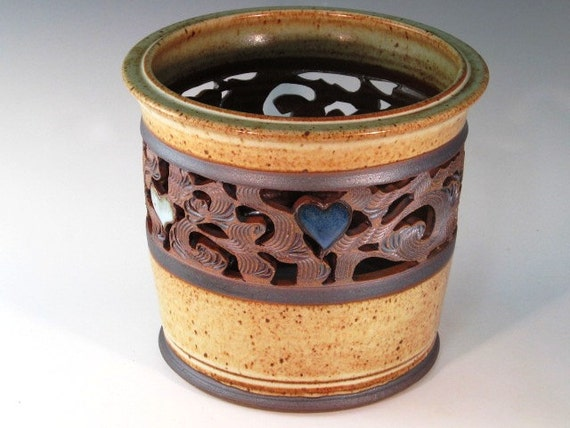 Utensil Holder With Hearts, Cutouts, And Swirl Design