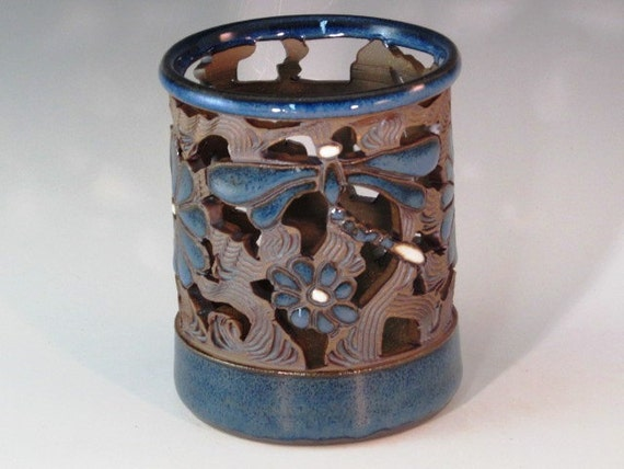 Blue Luminaire With Dragonflies And Flowers With Cutouts And Swirl Design