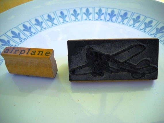 """Vintage Airplane Rubber Stamp and word """"airplane"""" teacher stamp from 30s, 40s"""