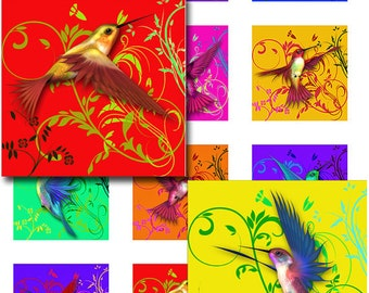 Hummingbird Swirls Instant Download 1 and 2 Inch Resin Glass Scrabble Tile Pendants Square Jpeg Images (D-7)