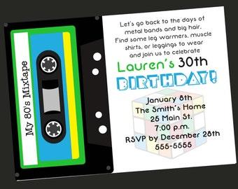 80's Theme 30th Birthday Party Invitation