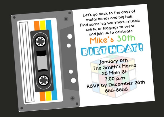 80's Theme 30th Birthday Party Invitation