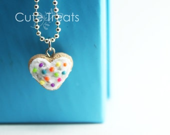 Rainbow Cookie Necklace (silver plated ballchain)
