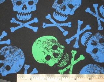 Blue & Green Skulls on Black Microfiber boardshort fabric