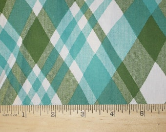 Pretty Cross Diagonal Teal and Olive Green  Woven Stretch Cotton