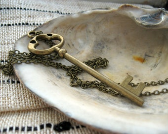 Large Brass Key Necklace