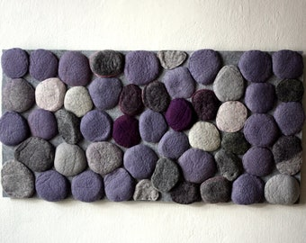 Felted rug with violet and grey stones