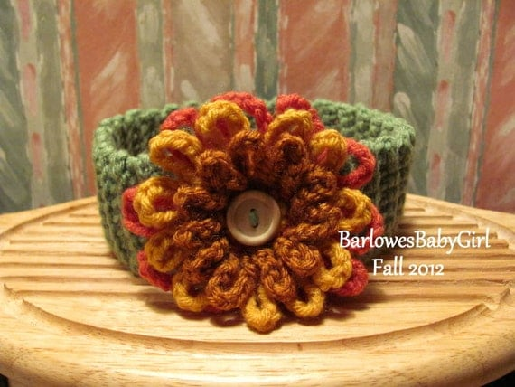 Buggs - Crochet Girls Headband w/ Three Tier Button On Flower in Apple Green, Coral, Rust and Gold Sizes 0-3 Months - 5T