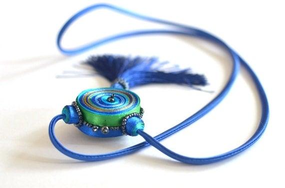 Tassel necklace, long textile pendant, fringe necklace - Fiber Jewelry - OOAK for order