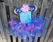 Children's Pink and Blue Fairy Butterfly Tutu Dress Wings Crown Package