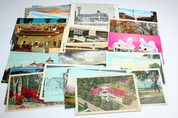 SALE - 50 Vintage USA Postcards - DAMAGED