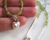 Sterling silver apple necklace, green peridot, single strand beaded light jewelry