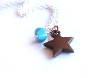 Star Necklace, December Birthstone Jewelry with Blue Turquoise