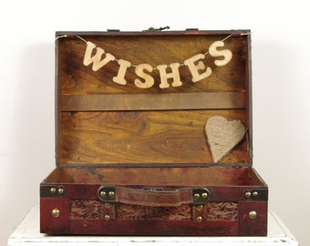 Wedding Wishes for the Bride and Groom - Rustic Wedding Wishes Card Box - Wood Trunk
