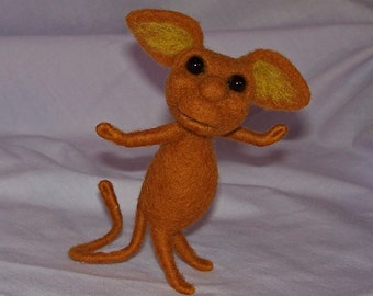 Needle Felted Brown Fantasy Mouse Creature - Free Shipping to US and Canada