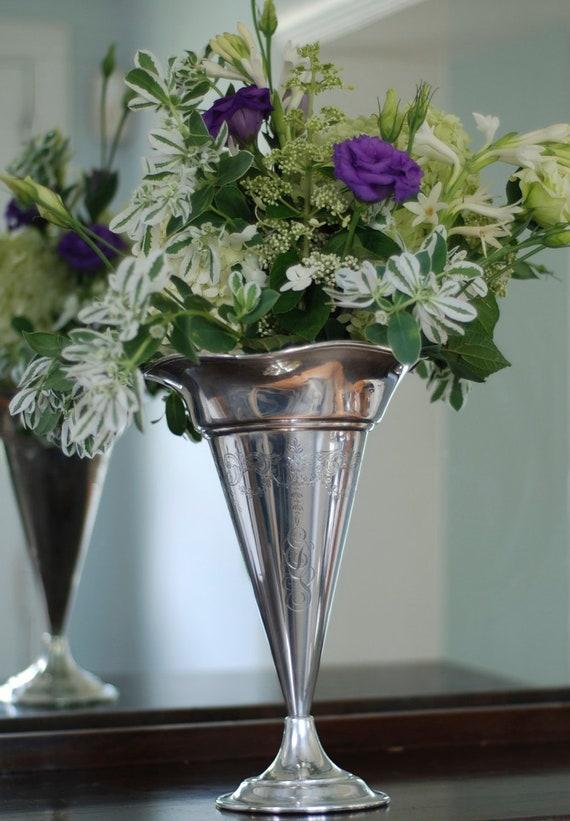 Sterling Silver Trumpet Vase, Vintage Sterling Silver Vase