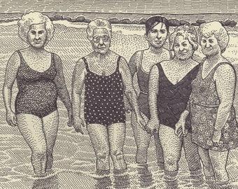 Old Ladies at the Beach Print