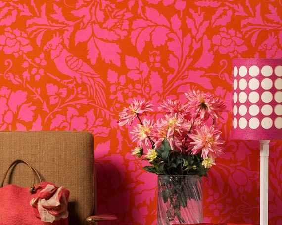 Large Colorful Wall Stencil - French Floral Damask Patterns - Elegant Tropical Home Decor Idea
