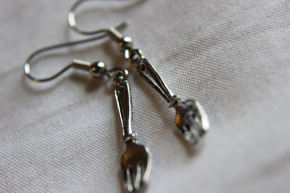 NEW Twilight Inspired Mini Silver Forks Earrings