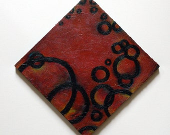 Abstract circle  Painting red black yellow circles textures size 12 x 12 inches Handmade artwork wall decor gift