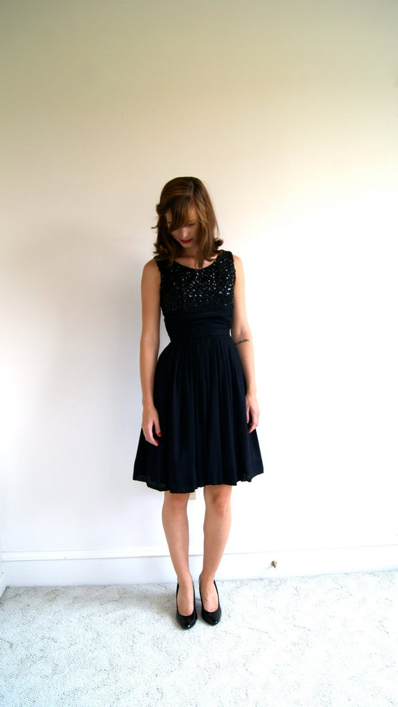 50s Black Chiffon and Sequin Party Dress. 1950s Little Black Dress. LBD. Extra Small.