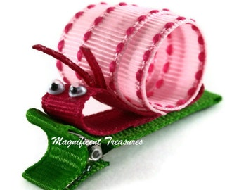 Pink Snail Ribbon Sculpture Hair Clip